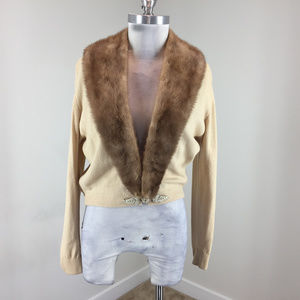 VTG Mink Fur Collar Cardigan sweater cashmere M